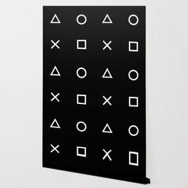 Gamer Pattern (White on Black) Wallpaper