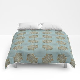 Soft Teal Blue & Gold No. 6 Comforters