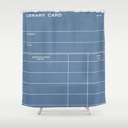 Library Card BSS 28 Negative Blue Shower Curtain