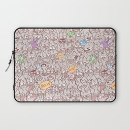 Seamless pattern world crowded with funny cats Laptop Sleeve