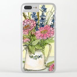 Pink Zinnias in Pitcher Watercolor Clear iPhone Case