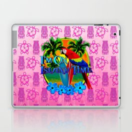 Pink Tiki Island Time Sunset Laptop & iPad Skin