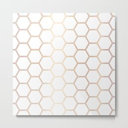 Honeycomb Rose Gold #372 Metal Print