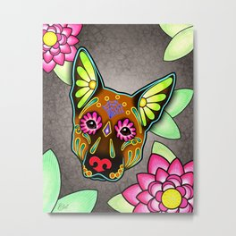German Shepherd in Brown - Day of the Dead Sugar Skull Dog Metal Print