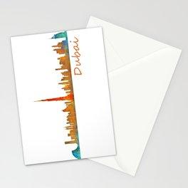 Dubai, emirates, City Cityscape Skyline watercolor art v1 Stationery Cards