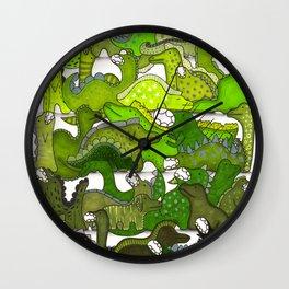 Green Dinosaur Gradient Wall Clock