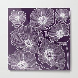 Aubergine Poppies Metal Print
