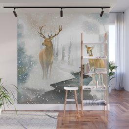snowing forest Wall Mural