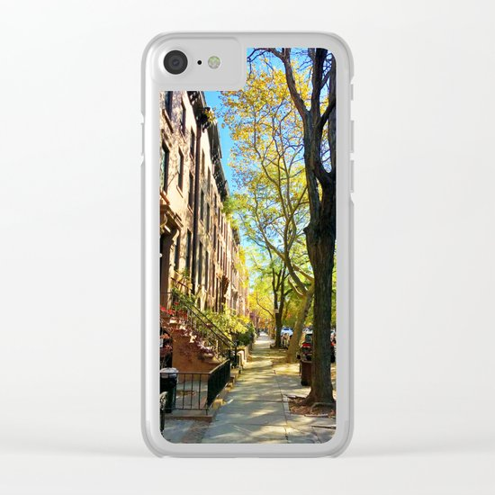Cobble Hill Brooklyn New York in the Fall, Brownstones Clear iPhone Case