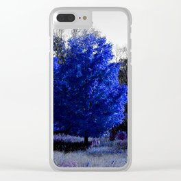 blue trees Clear iPhone Case