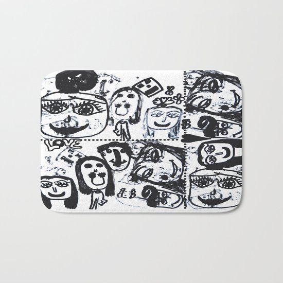 Funny Face | Pop Art | Black and White Bath Mat