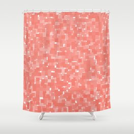 Peach Echo Pixels Shower Curtain