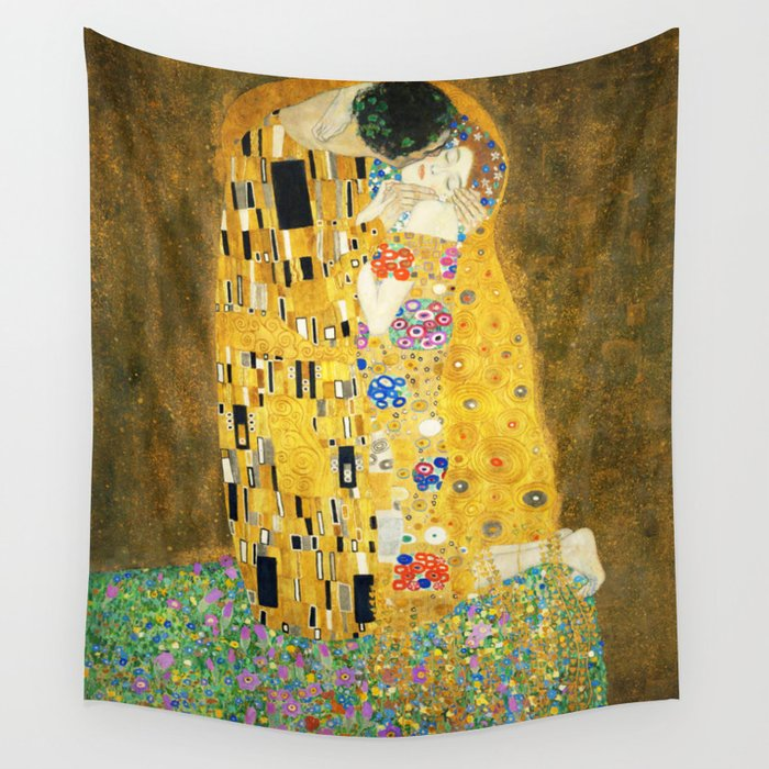 gustav klimt the kiss wall tapestry by artgallery society6