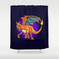 charizard Shower Curtains featuring Charizard by Aliece Carney