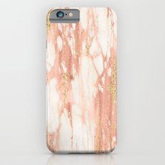 Rose Gold Marble - Rose Gold Yellow Gold Shimmery Metallic Marble Slim Case iPhone 6s