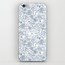 Cephalopods: White and Blue iPhone Skin