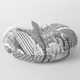 New York City, Manhattan (Black & White) Floor Pillow