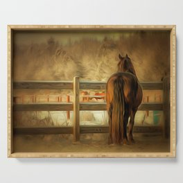 Horse Along a Fence in Snow in Winter. Golden Age Painting Style. Serving Tray