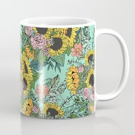 Trendy yellow sunflowers and pink roses mint design Coffee Mug