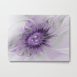 Lilac Fantasy Flower, Fractal Art Metal Print