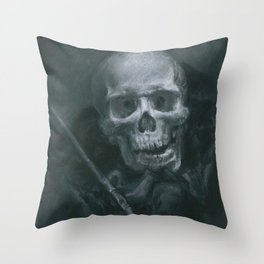 Skull with Paint Brush Throw Pillow