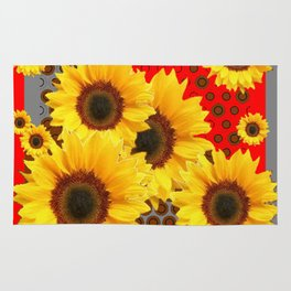 RED-YELLOW SUNFLOWERS GREY ABSTRACT Rug