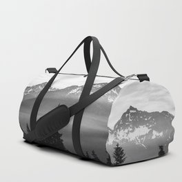 Morning in the Mountains Black and White Duffle Bag