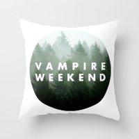 vampire weekend Throw Pillows featuring Vampire Weekend trees logo by Van de nacht