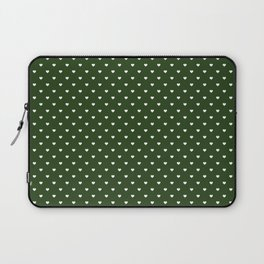 Small White Polka Dot Hearts on Dark Forest Green Laptop Sleeve