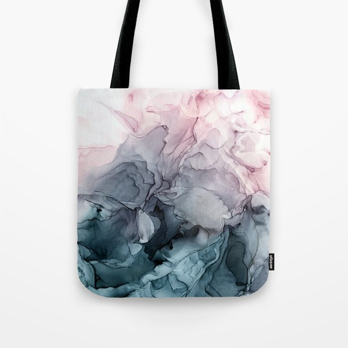 Blush and Payne's Grey Flowing Abstract Painting Tote Bag