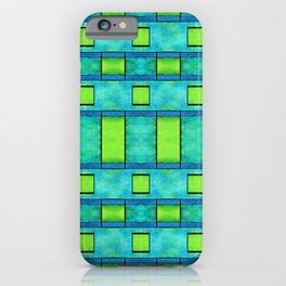 Painted blue and green parallel bars iPhone Case