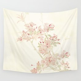 Watercolour of pink blossom Wall Tapestry