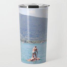 Woman on surfboard Travel Mug