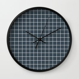 Charcoal - grey color - White Lines Grid Pattern Wall Clock