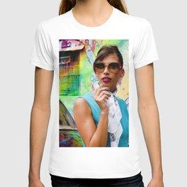 Woman and graffitti T-shirt