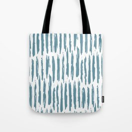 Vertical Dash Teal on White Tote Bag
