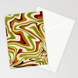 Green and Brown Liquid Abstract  Stationery Cards
