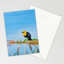 Yellow-Headed Blackbird in the Cattails Stationery Cards