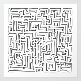 Maze Pattern Line Art in Black and White Art Print
