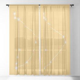 Capricorn Zodiac Constellation - Golden Yellow Sheer Curtain