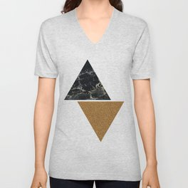 Dark marble and bronze geo Unisex V-Neck