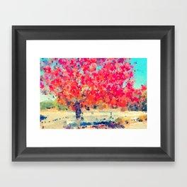 Orange Tree Watercolor digital Framed Art Print