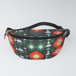 Traditional Christmas pattern with bears and trees Fanny Pack