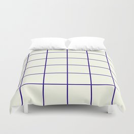 Window Panes, Navy and Cream Duvet Cover