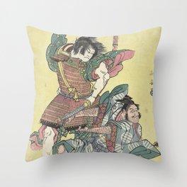 Japanese Vintage Woodblock Print Throw Pillow