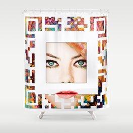 emma qr square'd Shower Curtain