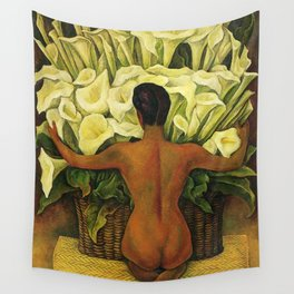 Nude with Calla Lilies by Deigo Rivera Wall Tapestry