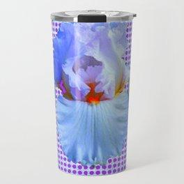 AWESOME BLUISH-WHITE PASTEL IRIS OPTICAL ART Travel Mug