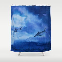 Ink sharks Shower Curtain