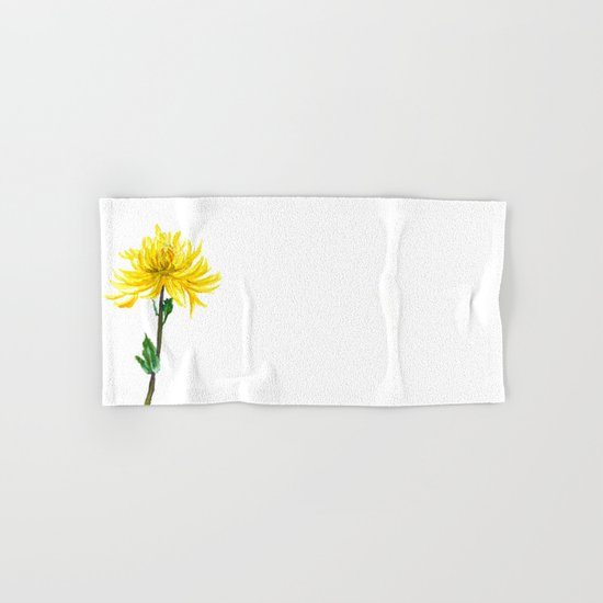 one yellow chrysanthemum  Hand & Bath Towel